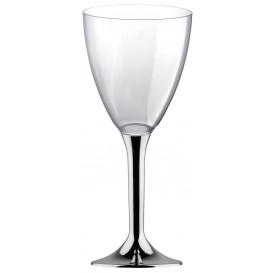 Copa de Plastico Vino con Pie Plata Cromado 300ml (200 Uds)