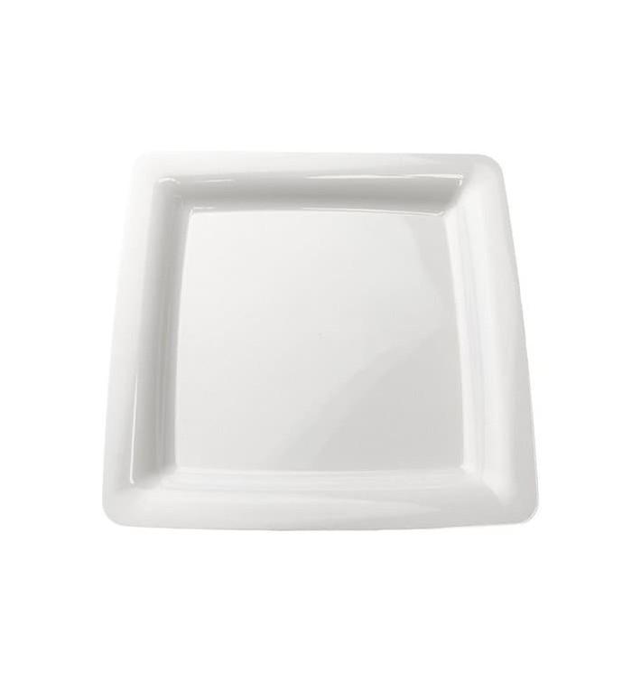 Plato Plastico Cuadrado Extra Rigido Blanco 22,5x22,5cm (20 Uds)