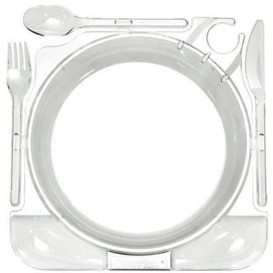 Plato y Cubiertos Caterplate Transparente (12 Uds)