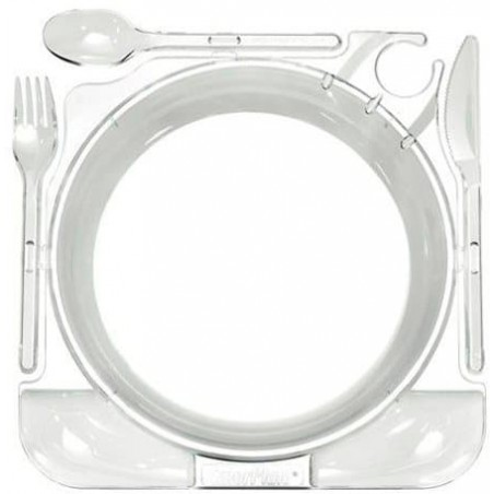 Plato y Cubiertos Caterplate Transp. (48 Uds)