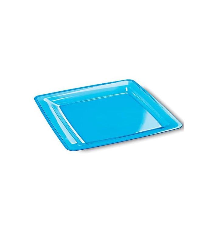 Plato Plastico Cuadrado Extra Rigido Turquesa 22,5x22,5cm (6 Uds)