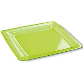 Plato Plastico Cuadrado Extra Rigido Verde 22,5x22,5cm (6 Uds)