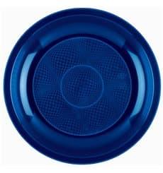 Plato de Plastico Llano Azul Round PP Ø220mm (50 Uds)