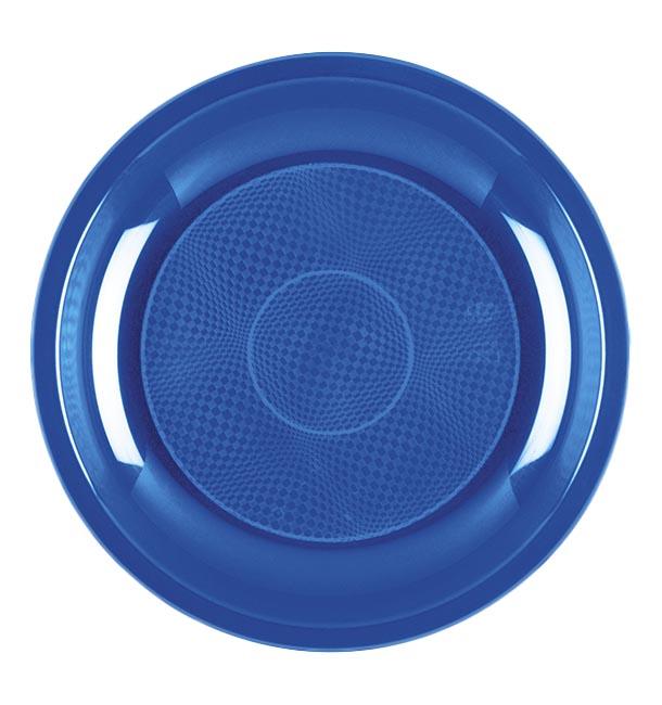 Plato de Plastico Postre Azul Mediterraneo Round PP Ø185mm (600 Uds)
