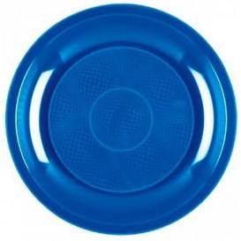 Plato de Plastico Llano Azul Mediterraneo Round PP Ø220mm (600 Uds)