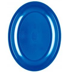 Bandeja Ovalada Azul Mediterraneo Round PP 255mm (50 Uds)