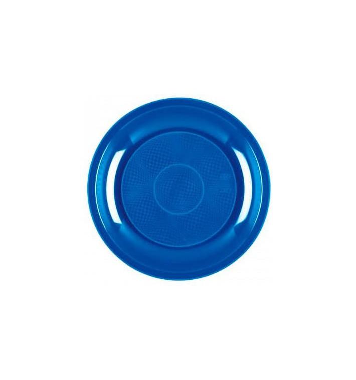 Plato de Plastico Llano Azul Mediterraneo Round PP Ø220mm (50 Uds)