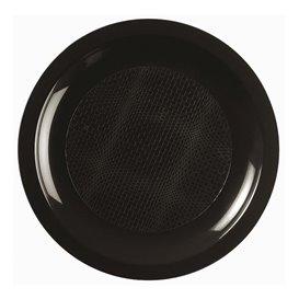 Plato de Plastico Llano Negro Round PP Ø185mm (300 Uds)
