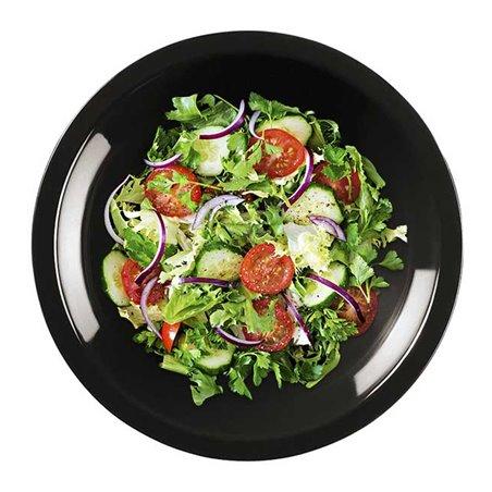 Plato de Plastico Hondo Negro Round PP Ø195mm (600 Uds)