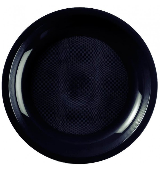 Plato de Plastico Llano Negro Round PP Ø220mm (50 Uds)