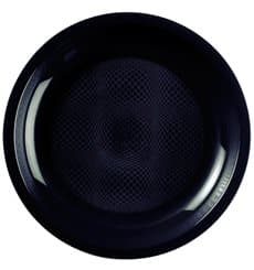 Plato de Plastico Llano Negro Round PP Ø220mm (600 Uds)