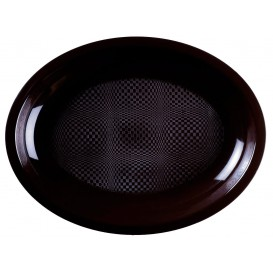 Bandeja Ovalada Negro Round PP 315x220mm (25 Uds)