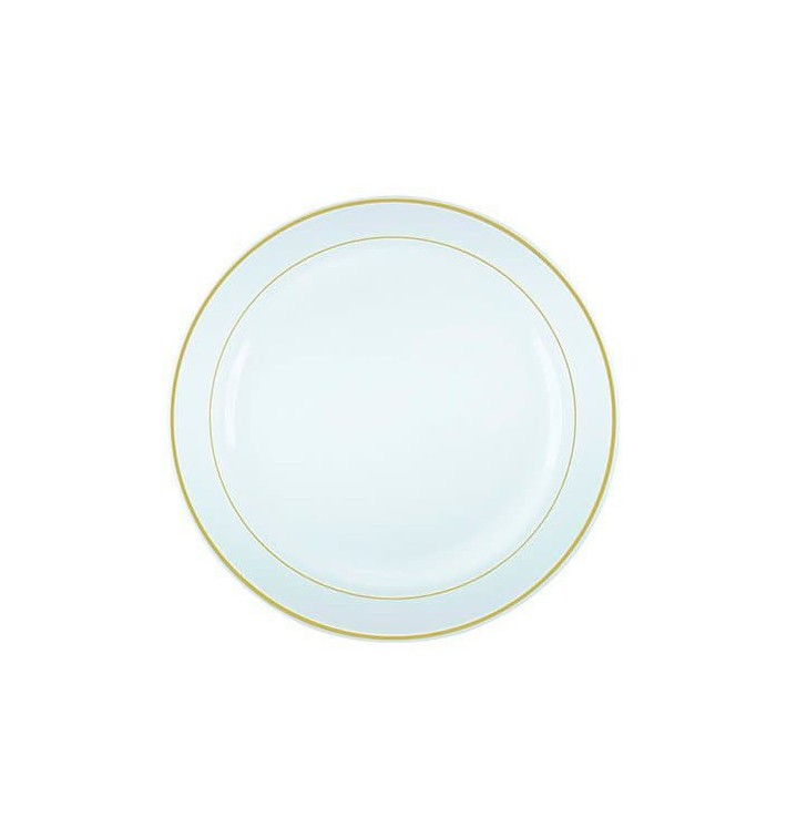 Plato Plastico Extra Rigido con Ribete Oro 26cm (20 Uds)
