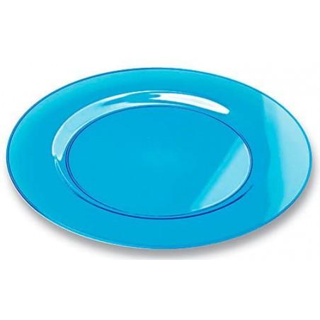 Plato Plastico Redondo Extra Rigido Turquesa 19cm (10 Uds)