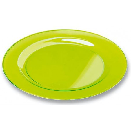 Plato Plastico Redondo Extra Rigido Verde 23cm (90 Uds)