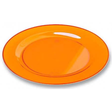 Plato Plastico Redondo Extra Rigido Naranja 19cm (120 Uds)