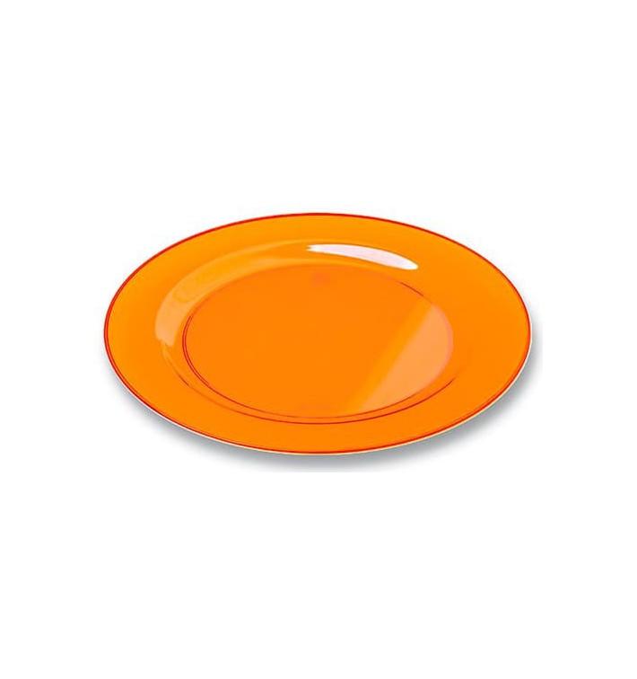 Plato Plastico Redondo Extra Rigido Naranja 26cm (90 Uds)