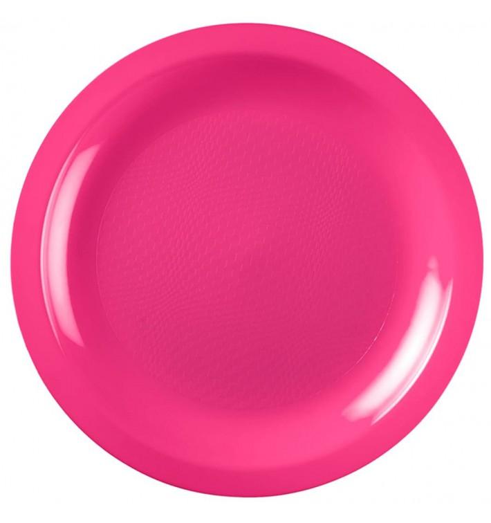 Plato de Plastico Llano Fucsia Round PP Ø185mm (600 Uds)