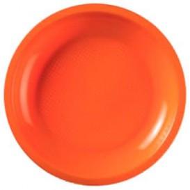 Plato de Plastico Llano Naranja Round PP Ø220mm (50 Uds)