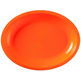 Bandeja Ovalada Naranja Round PP 255x190mm (300 Uds)