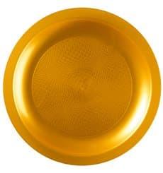 Plato de Plastico Llano Oro Round PP Ø185mm (600 Uds)