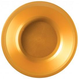 Plato de Plastico Hondo Oro Round PP Ø195mm (150 Uds)