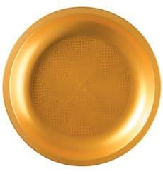 Plato de Plastico Llano Oro Round PP Ø220mm (600 Uds)