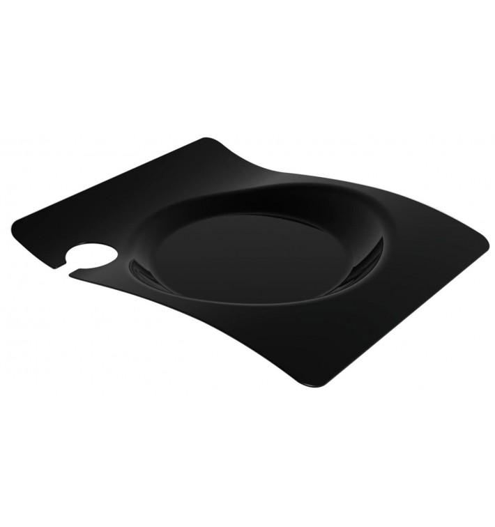 """Plato de Plastico """"Forma"""" con Soporte Negro 22x18 cm (12 Uds)"""