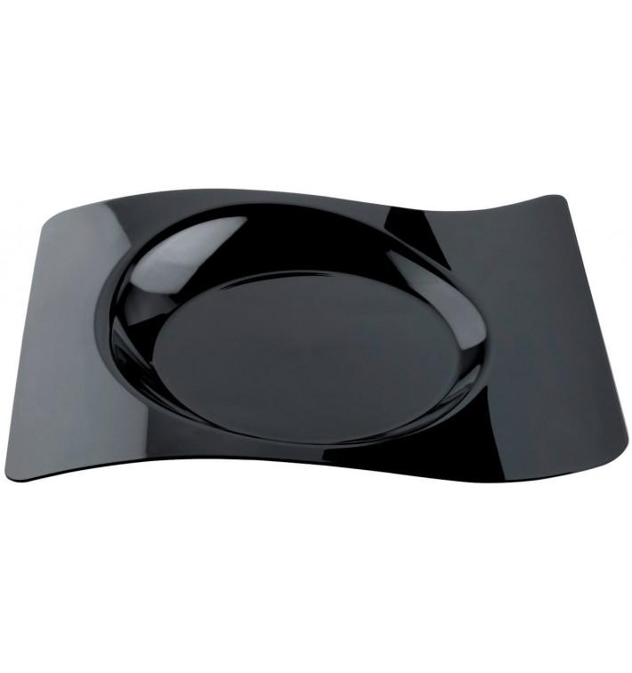 "Plato de Plastico ""Forma"" Negro 28x23 cm (180 Uds)"