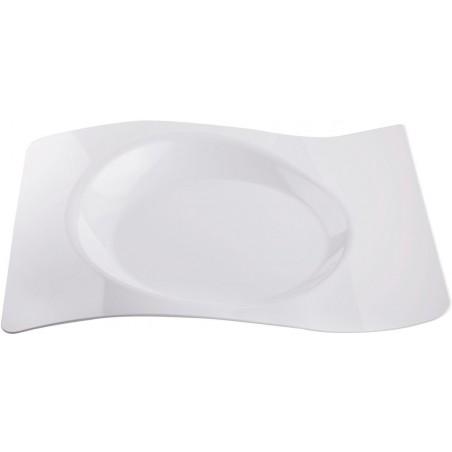 """Plato de Plástico """"Forma"""" Blanco 28x23 cm (12 Uds)"""