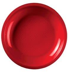 Plato de Plastico Llano Rojo Round PP Ø220mm (50 Uds)