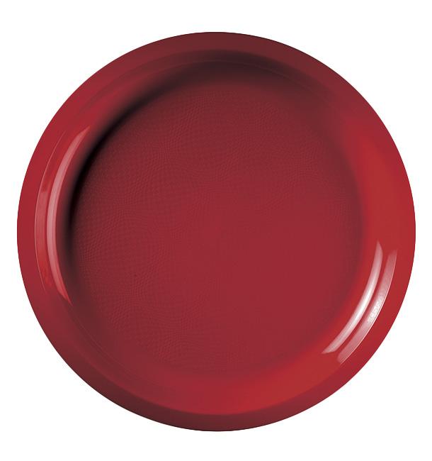 Plato de Plastico Rojo Round PP Ø290mm (150 Uds)