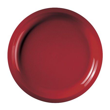 Plato de Plastico Rojo Round PP Ø290mm (300 Uds)