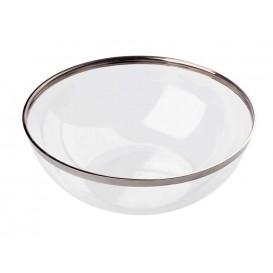 Bol Plástico Transparente Ribete Plata 1500ml (40 Uds)