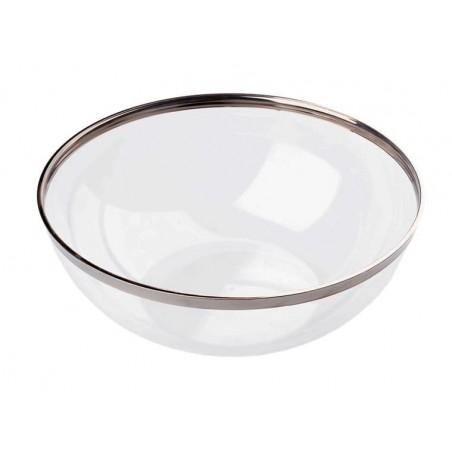 Bol Plástico Transparente Ribete Plata 1500ml (4 Uds)