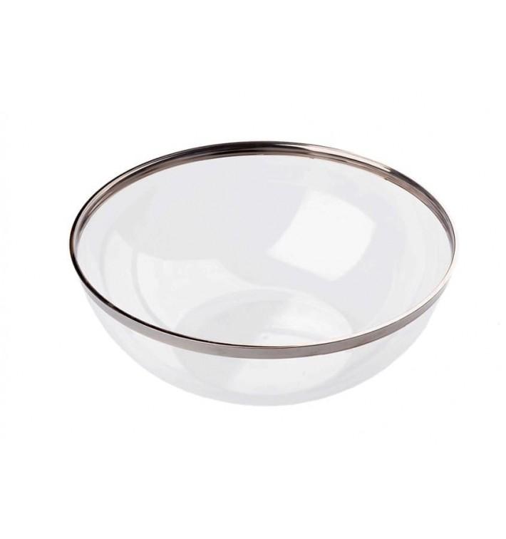 Bol Plástico Transparente Ribete Plata 400ml (80 Uds)