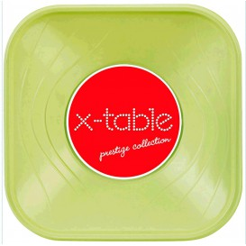 "Bol de Plastico PP ""X-Table"" Cuadrado Lima 180x180mm (120 Uds)"