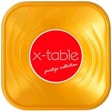 """Bol de Plastico PP """"X-Table"""" Cuadrado Oro 180x180mm (8 Uds)"""
