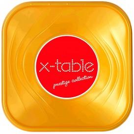 """Bol de Plastico PP """"X-Table"""" Cuadrado Oro 180x180mm (120 Uds)"""