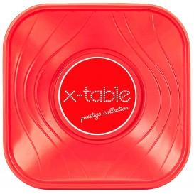 """Bol de Plastico PP """"X-Table"""" Cuadrado Rojo 180x180mm (120 Uds)"""