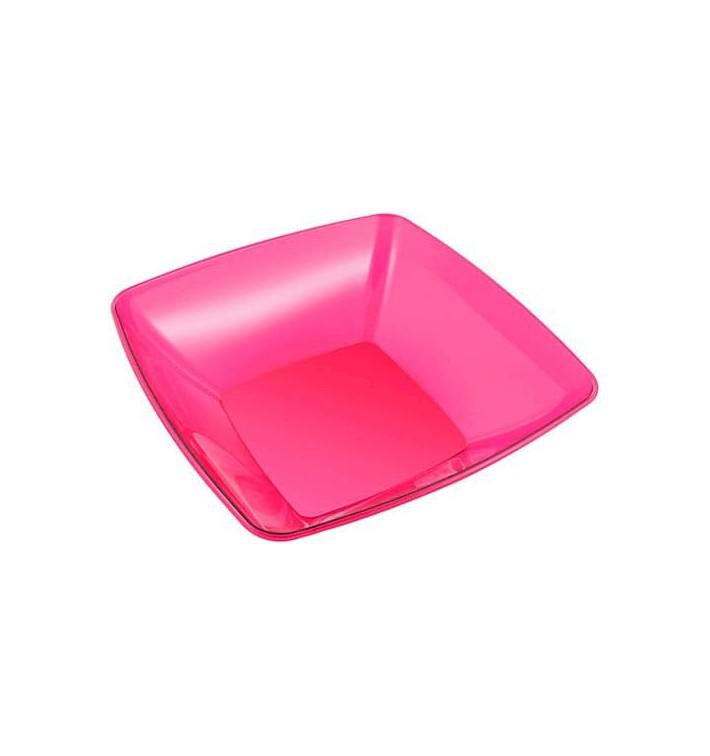 Bol de Plastico Cuadrado Frambuesa 28x28cm (20 Uds)