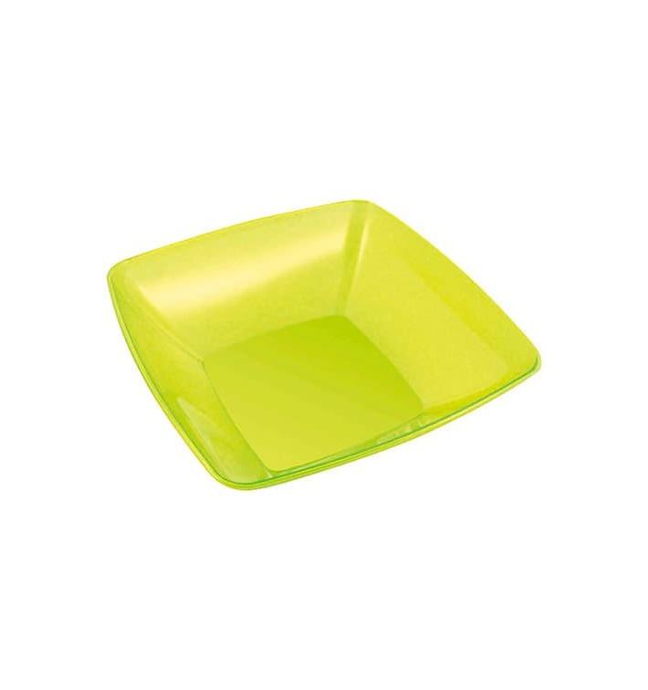 Bol de Plastico Cuadrado Verde 28x28cm (20 Uds)