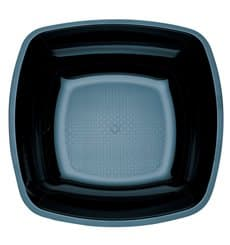 Plato de Plastico Hondo Negro Square PS 180mm (25 Uds)