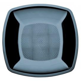 Plato de Plastico Llano Negro Square PS 230mm (25 Uds)