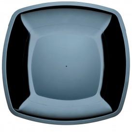 Plato de Plastico Llano Negro Square PS 300mm (12 Uds)