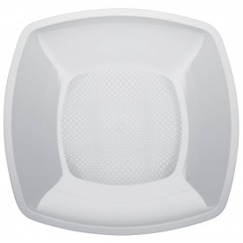 Plato de Plastico Llano Cuadrado Blanco Square PP 180mm (25 Uds)