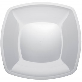 Plato de Plastico Llano Blanco Square PS 300mm (144 Uds)