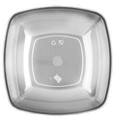 Plato de Plastico Hondo Transp. Square PS 180mm (300 Uds)