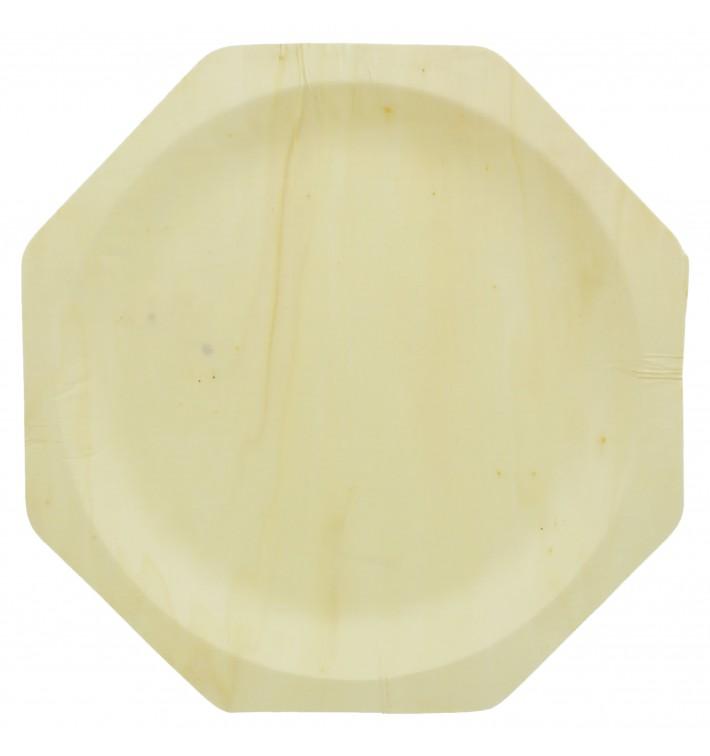 Plato de Madera Octogonal 260mm (50 Uds)