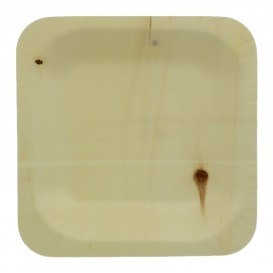 Plato de Madera Cuadrado 11,5x11,5cm (25 Uds)